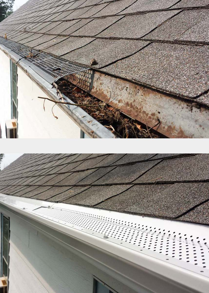 clogged gutter w/bad covers